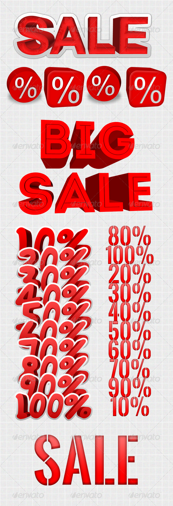 Sale Text Discount Big Resolution - Text 3D Renders