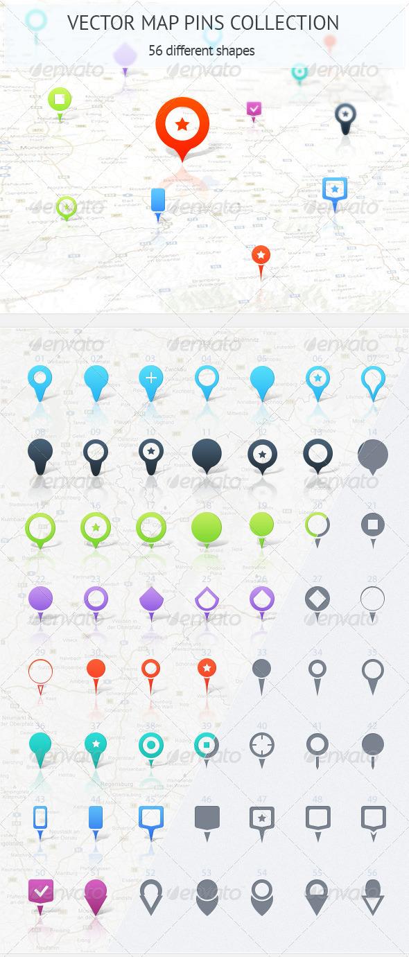 Map Pins Collection - Web Elements Vectors
