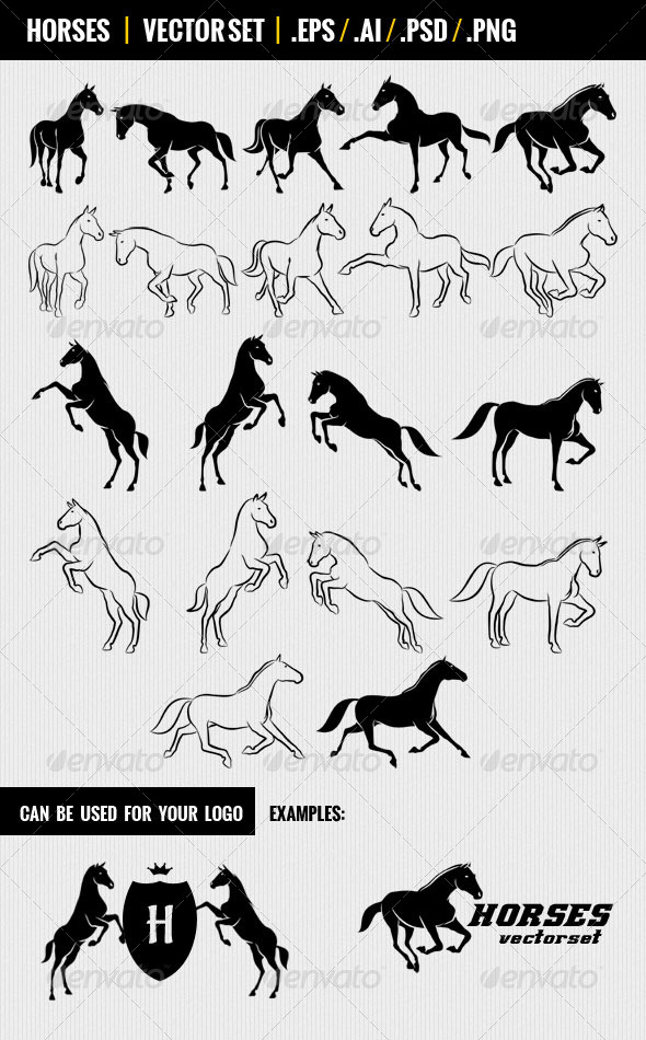 Horses. Vectorset. - Animals Characters