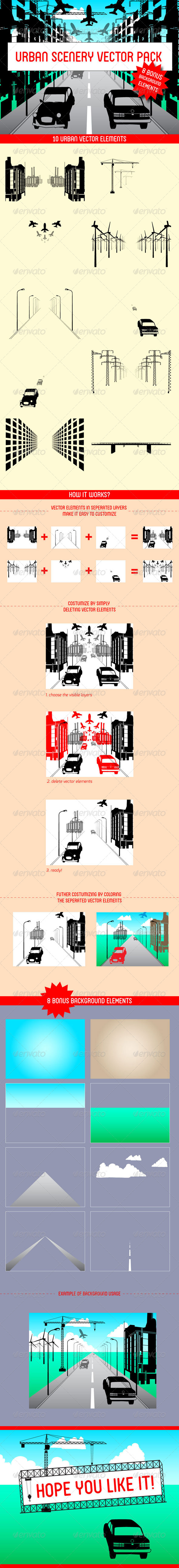 Urban Scenery Vector Pack - Objects Vectors