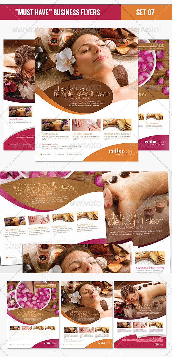 Must Have Business Flyers - Set 07 Beauty Spa - Corporate Flyers