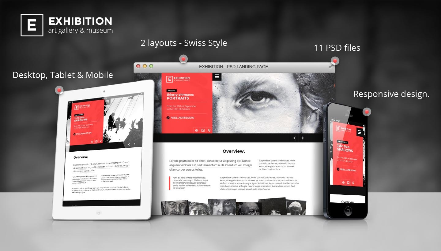 Exhibition - Art Gallery/ Museum PSD Landing page