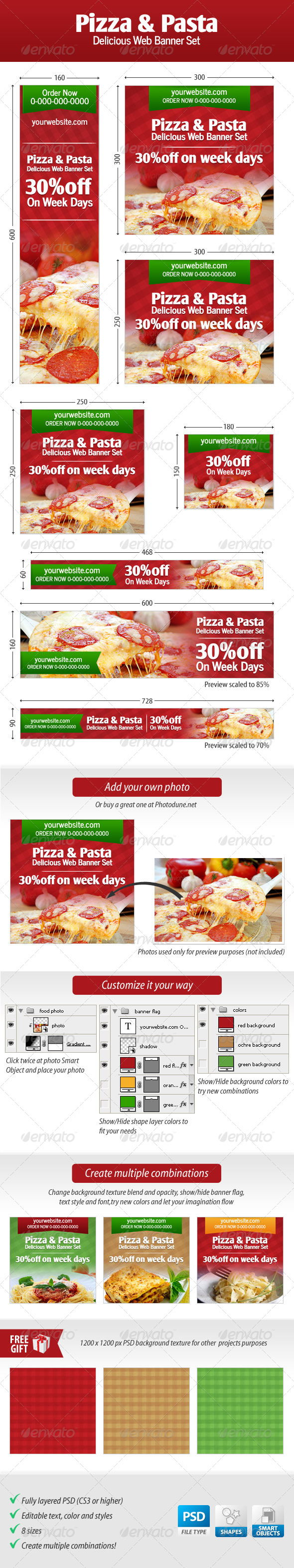 Pizza and Pasta Web Banner Set - Banners & Ads Web Elements