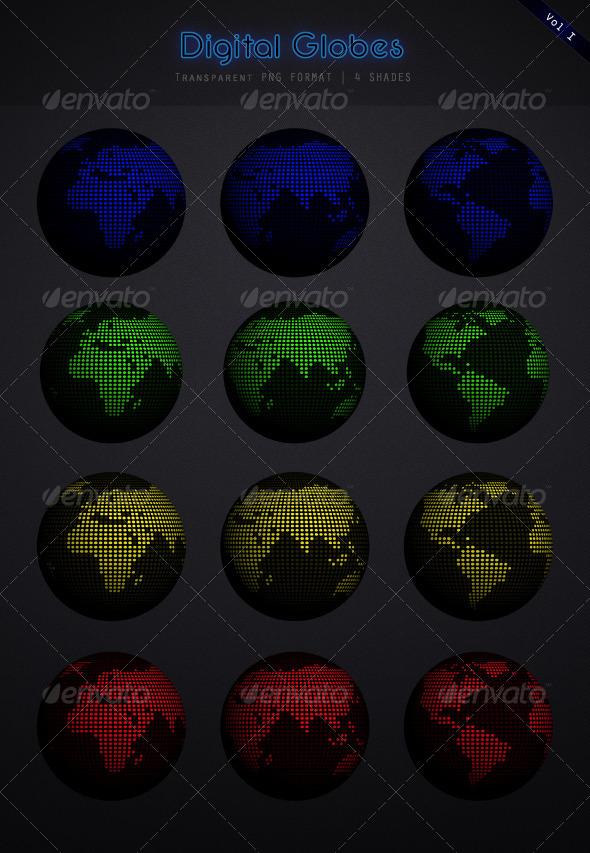 Globe / Earth set - Miscellaneous 3D Renders