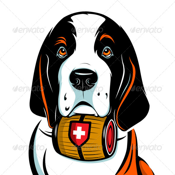 Saint Bernard Dog Face - Animals Characters