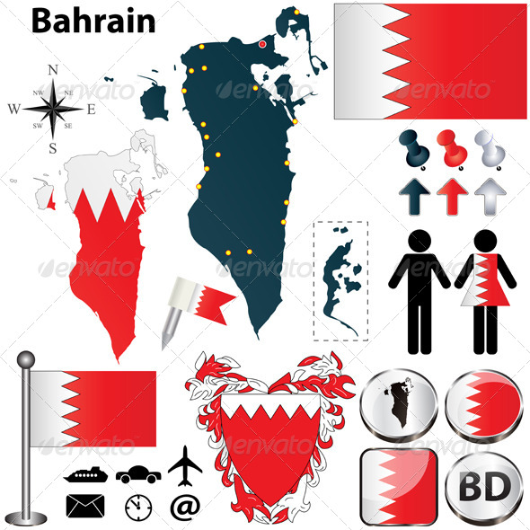 Map of Bahrain - Travel Conceptual