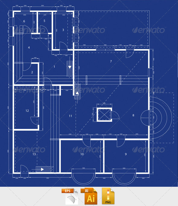 Blueprint by sremac graphicriver blueprint buildings objects malvernweather Choice Image