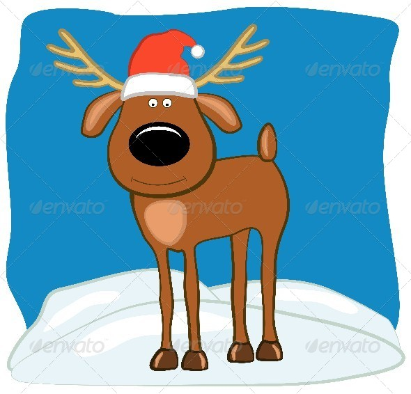 Christmas Deer in a Santa Hat - Christmas Seasons/Holidays
