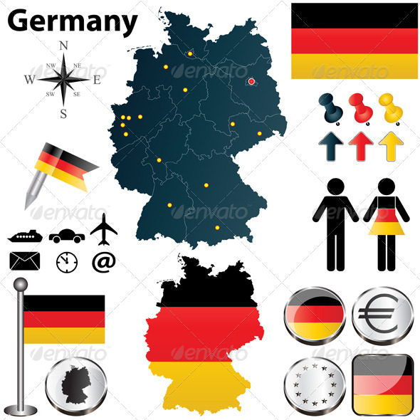 Map of Germany with Regions - Travel Conceptual