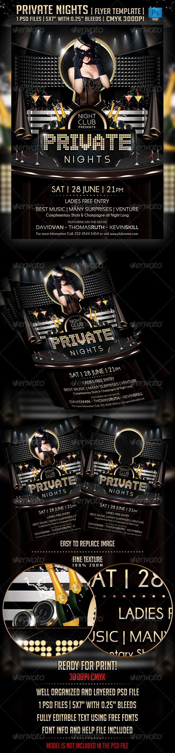 Private Nights Flyer Template - Flyers Print Templates