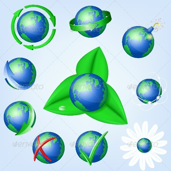 Set of Globe Icons - Web Elements Vectors
