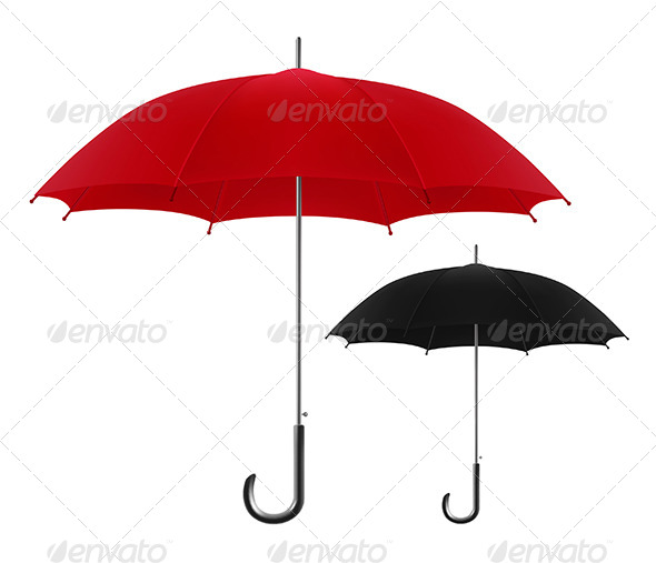 Red and Black Umbrellas  - Objects Vectors