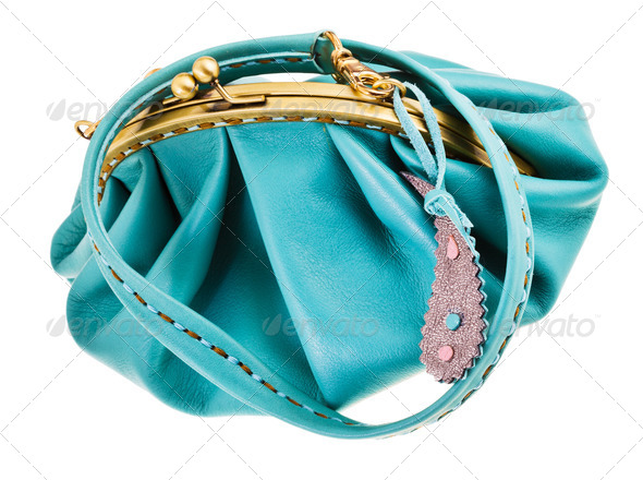 blue leather retro style clutch bag - Stock Photo - Images