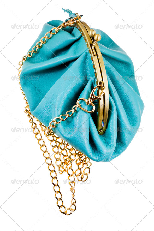 blue leather retro style theater bag - Stock Photo - Images