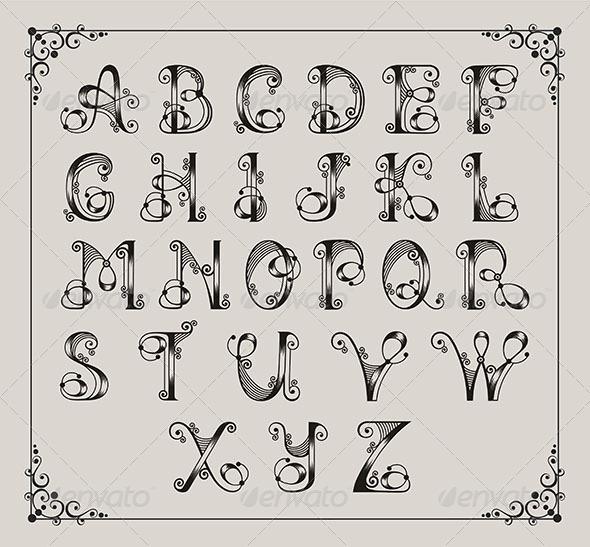 Calligraphic Alphabet - Decorative Symbols Decorative