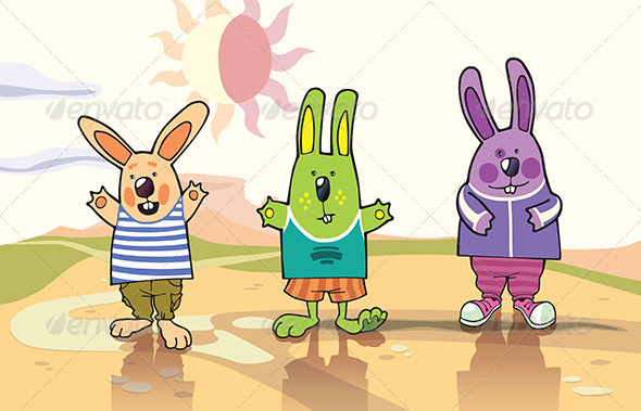 Three Rabbits in a Desert - Animals Characters