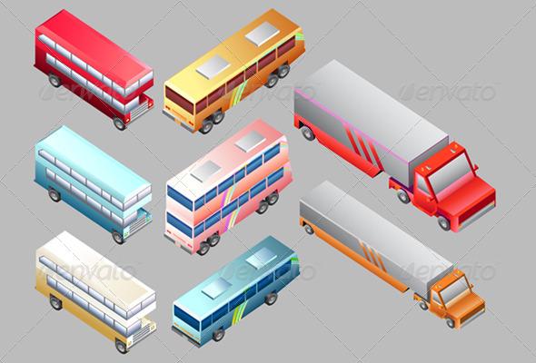 Set of Land Vehicle Isometric - Travel Conceptual