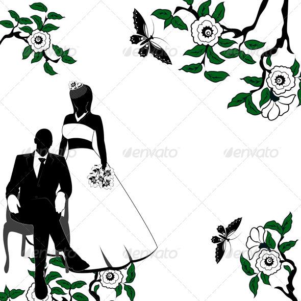 Invitation with Wedding Pair - Weddings Seasons/Holidays