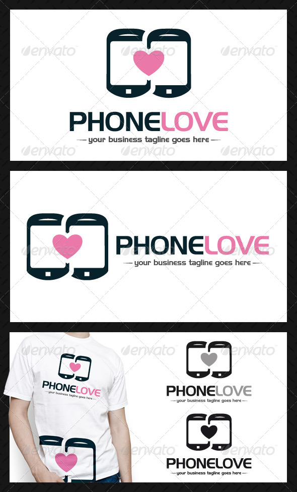 Phone Love Logo Template - Objects Logo Templates