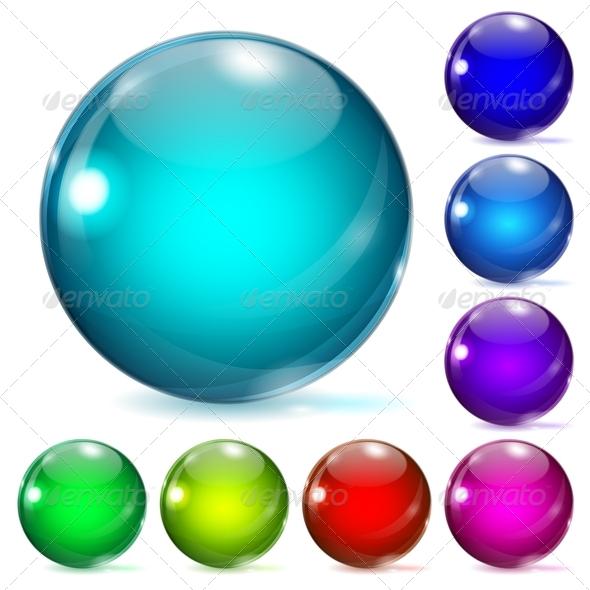 Multicolored Glass Spheres - Decorative Symbols Decorative