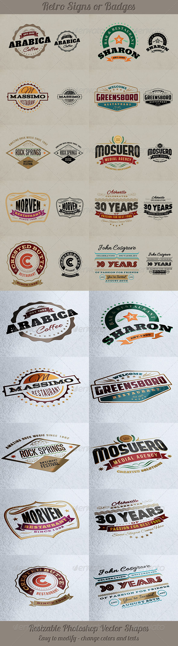 Retro Signs or Banners - Badges & Stickers Web Elements