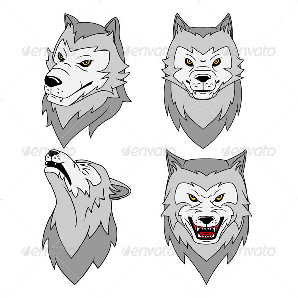 Wolf's Head Vector Illustration - Animals Characters