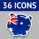 36 icons Piggy Bank Flags - GraphicRiver Item for Sale