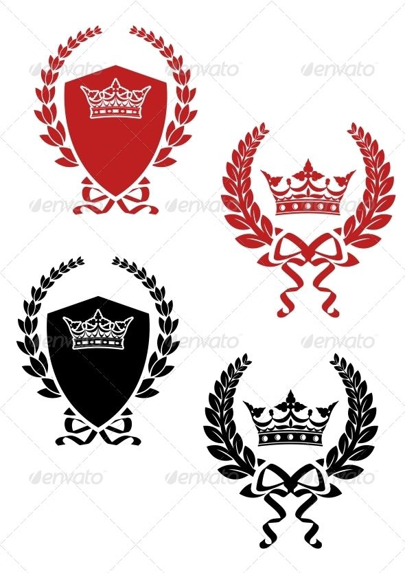 Retro Laurel Wreathes with Ribbons and Crowns - Decorative Symbols Decorative