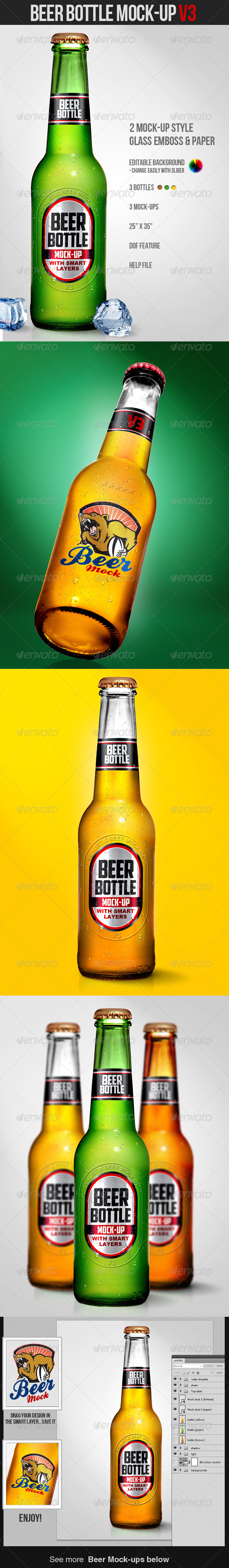 Beer Bottle Mock-Up V3 - Miscellaneous Product Mock-Ups