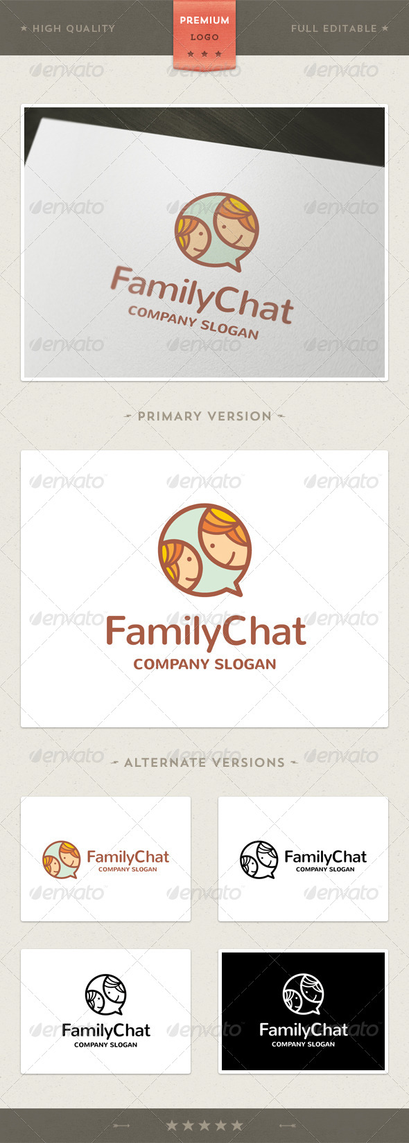Chat Family Logo Template - Humans Logo Templates
