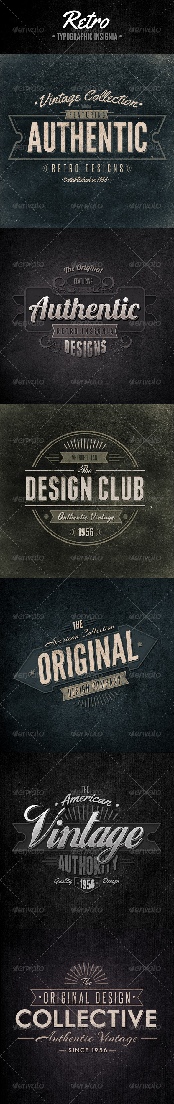 Retro Typographic Insignia and Badges - Badges & Stickers Web Elements