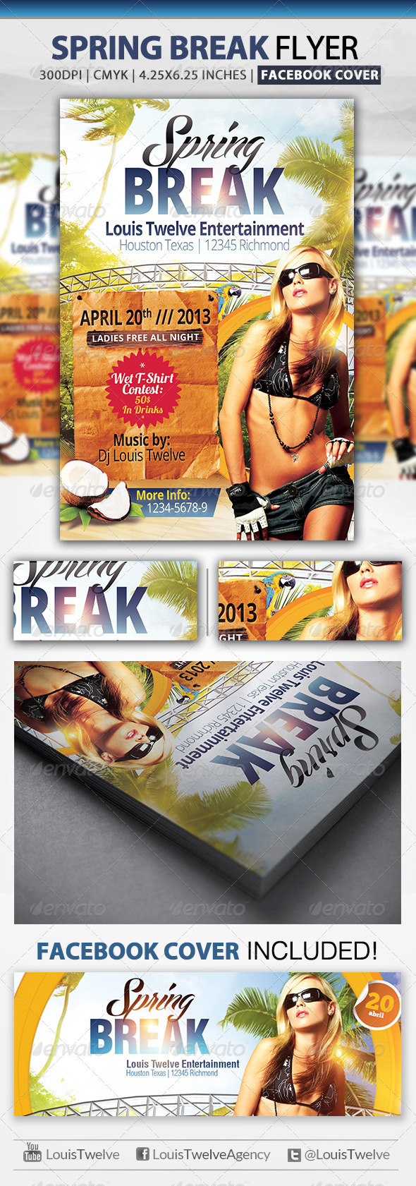 Spring / Summer Break | Flyer + Facebook Cover - Clubs & Parties Events