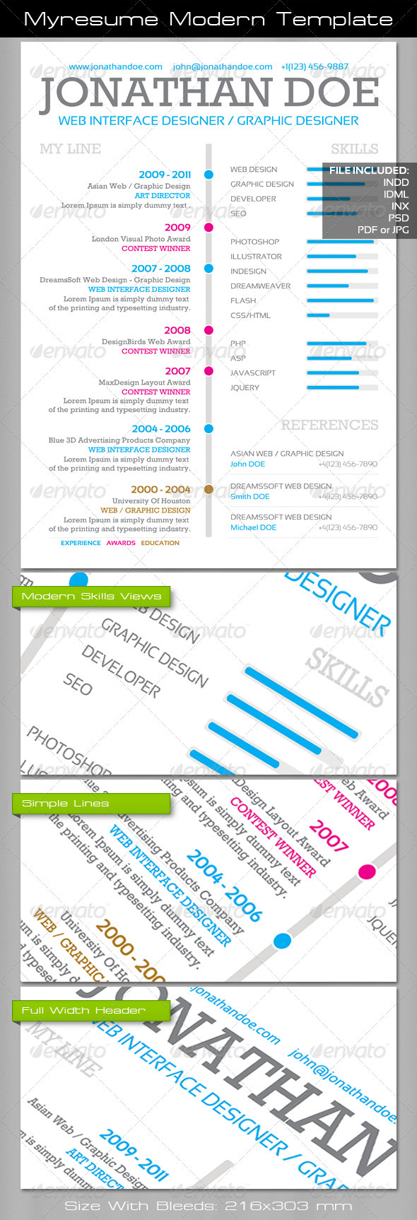 Myresume Modern Template - Resumes Stationery
