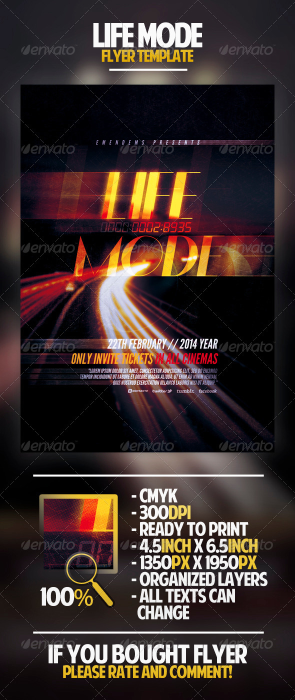 Life Mode Flyer Template - Miscellaneous Events
