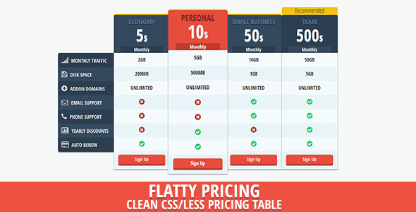 Flat Price – Flat UI Pricing Table
