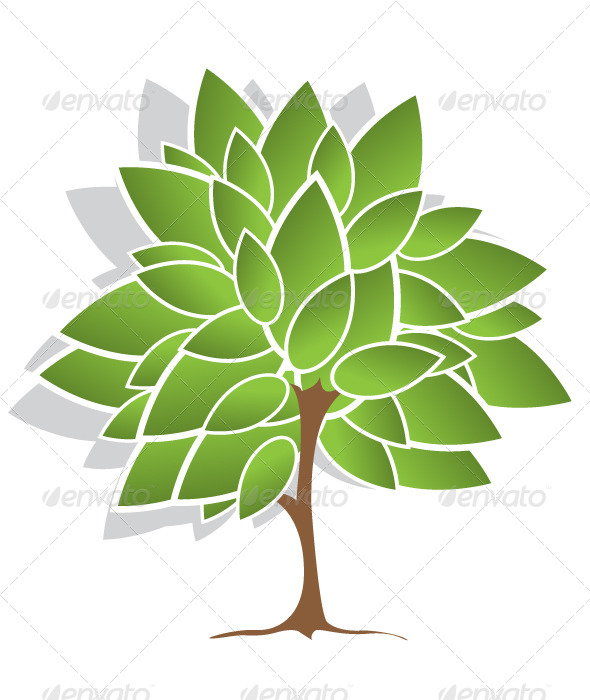 Tree with Green Leaves - Decorative Symbols Decorative
