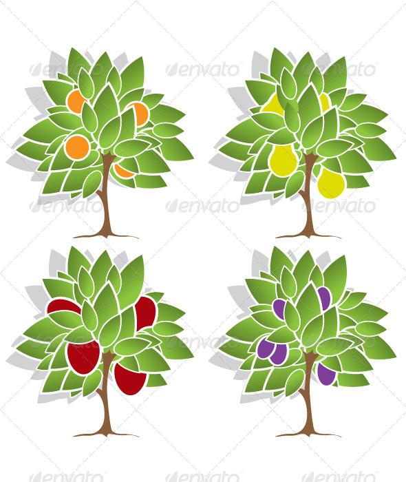 Four Fruit Trees - Flowers & Plants Nature