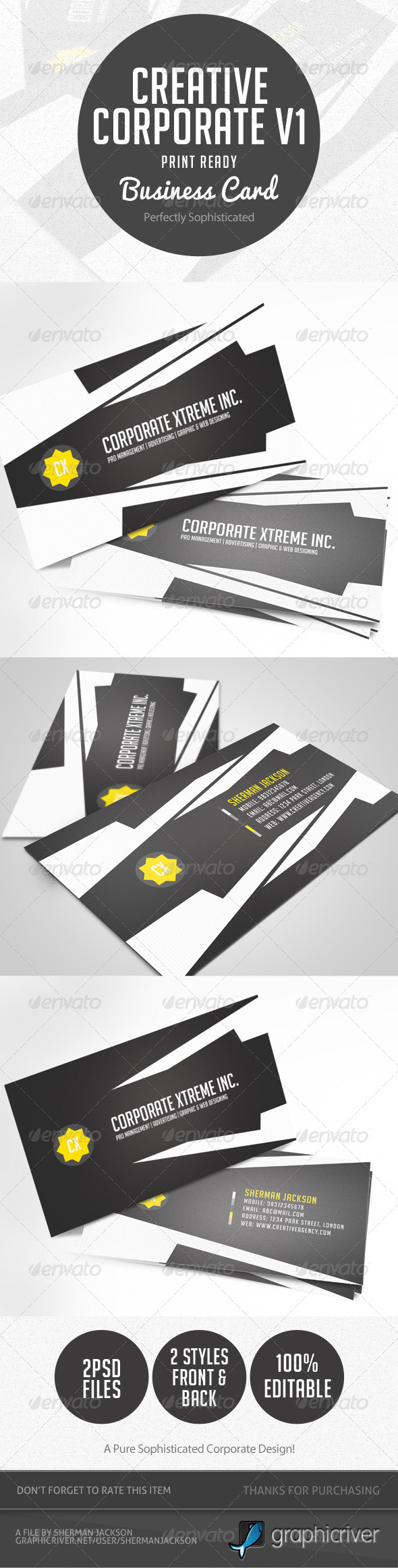 Creative Corporate Business Card V.1 - Corporate Business Cards