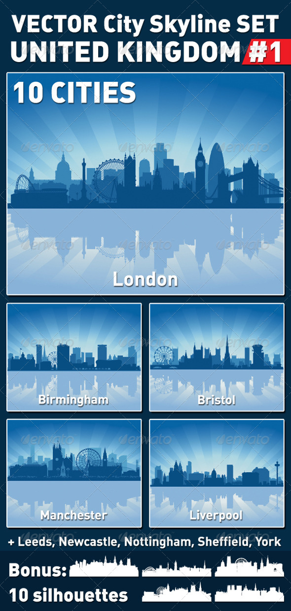 Vector City Skyline Set. United Kingdom #1 - Buildings Objects