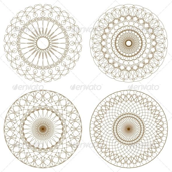 Set of Vector Guilloche Rosettes - Decorative Symbols Decorative