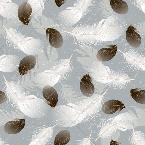 Seamless Background with Feathers - Patterns Decorative