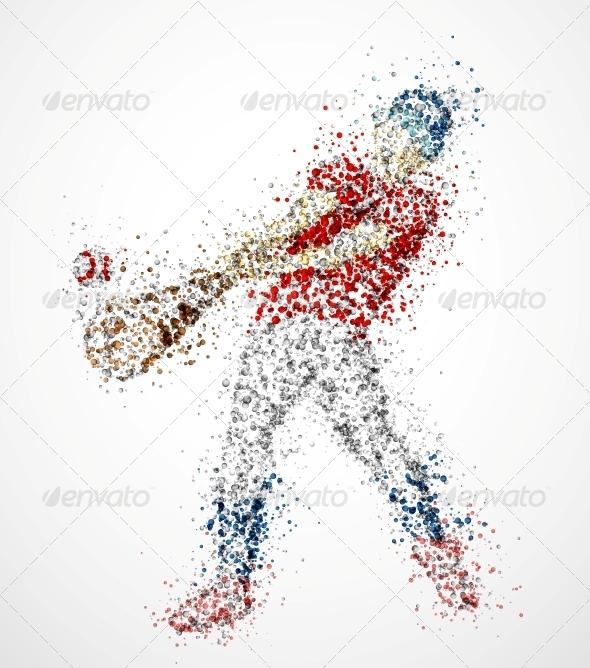 Abstract Baseball Player - Sports/Activity Conceptual