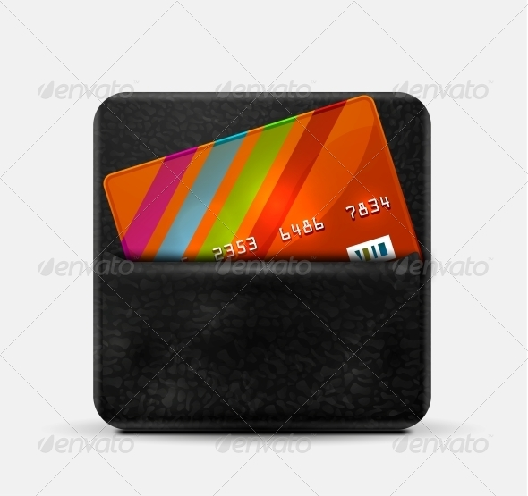 Leather Wallet for Credit Cards - Web Elements Vectors