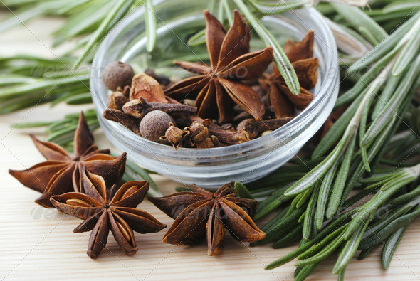 Bunch of rosemary and anise stars - Stock Photo - Images