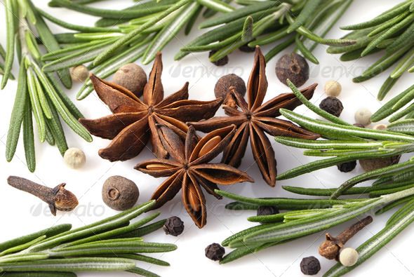 Rosemary, peppercorn, cloves and anise - Stock Photo - Images