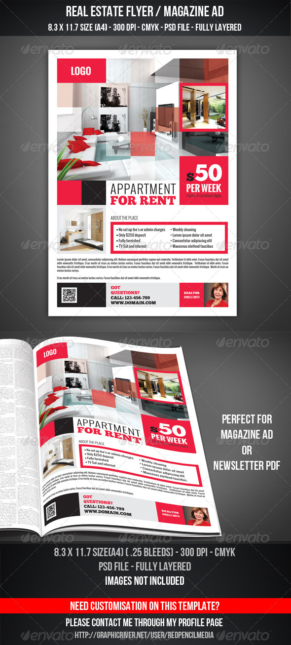 real estate flyer magazine ad by redpencilmedia graphicriver. Black Bedroom Furniture Sets. Home Design Ideas