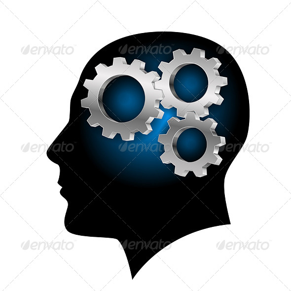 Humans Brain with Gearwheel Inside - People Characters