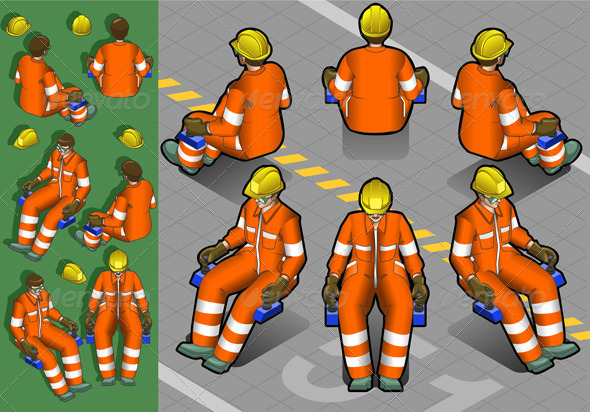 Isometric Shunter at Work in Six Positions - People Characters