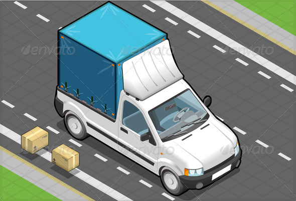 Isometric White Pickup Van with Blue Tarpaulin - Objects Vectors