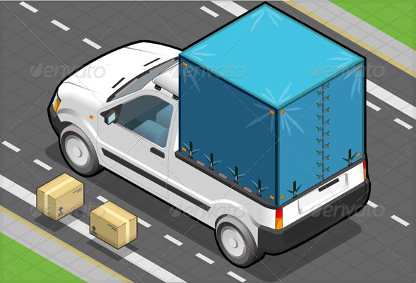 Isometric White Pickup Van with Blue Tarpaulin - Objects Vectors